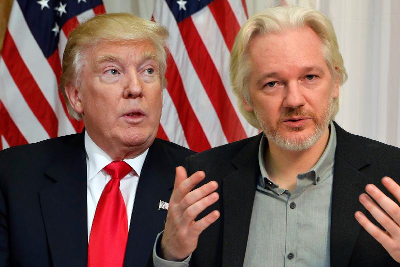 美國準總統川普(左)與維基解密創辦人阿桑奇(AP)