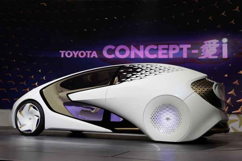 TOYOTA(豐田)在2017國際消費性電子展推出的概念新車:TOYOTA Concept-i。(美聯社)