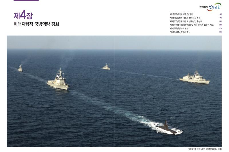 南韓2016國防白皮書第四章:加強迎向未來的防禦能力。