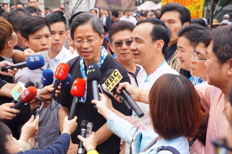 前行政院長張善政出席活動受訪。(盧逸峰攝)