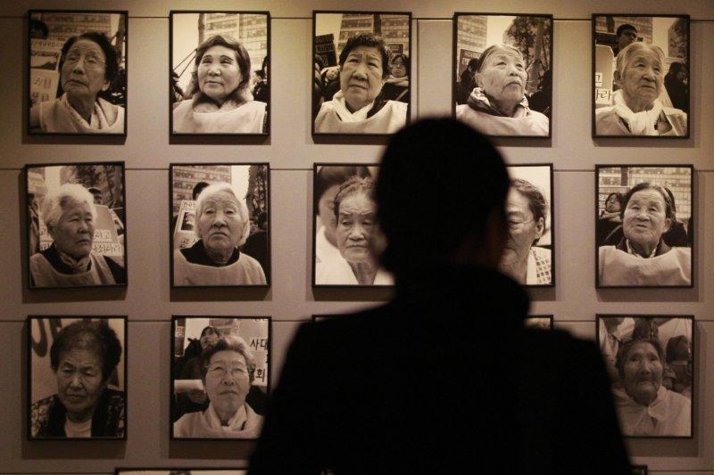 南韓慰安婦阿嬤的照片。(美聯社)