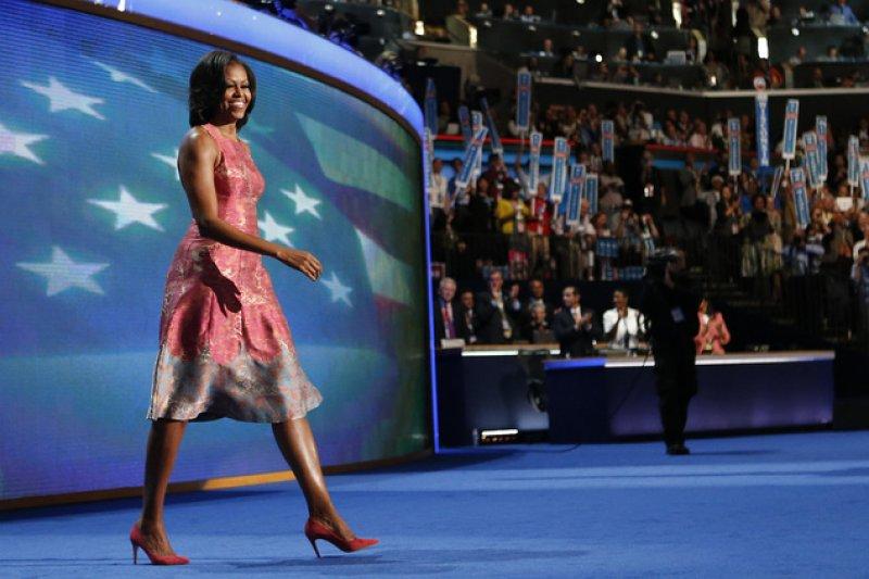 2012年9月,民主黨全國大會上的蜜雪兒(AP)