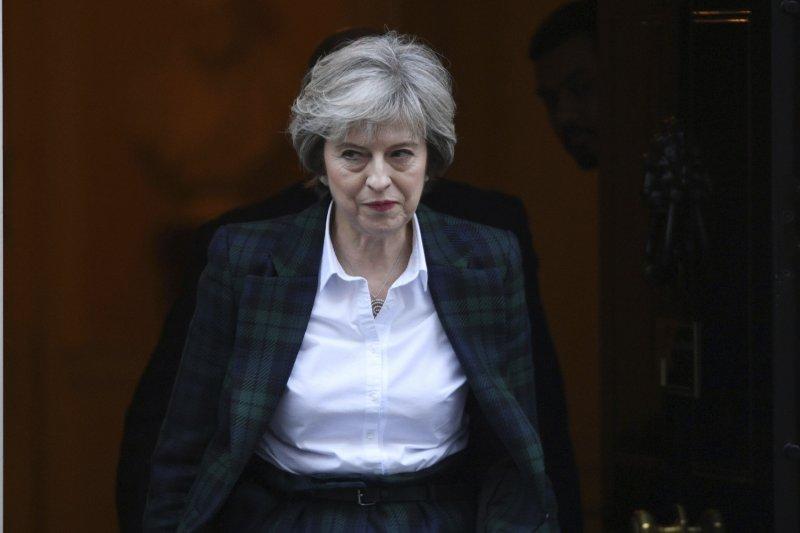 英國首相梅伊17日發表脫歐計畫演說,表明將退出單一市場與關稅同盟。(美聯社)