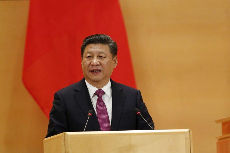 中國國家主席習近平在聯合國日內瓦總部萬國宮演講。(AP)