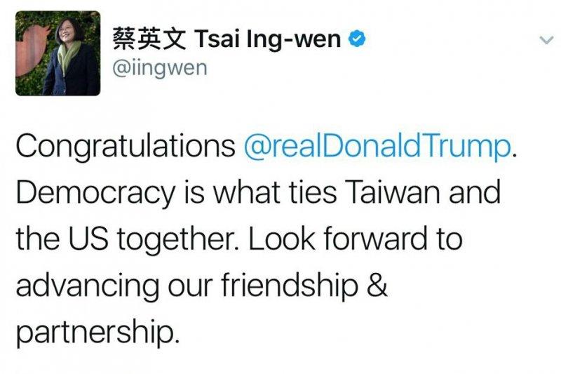 蔡英文也在推特上留言「恭喜川普,民主將台灣與美國連繫在一起,期待增進雙方友誼及夥伴關係。」還特別標註川普的推特帳號。(取自twitter@蔡英文Tsai Ing-wen)