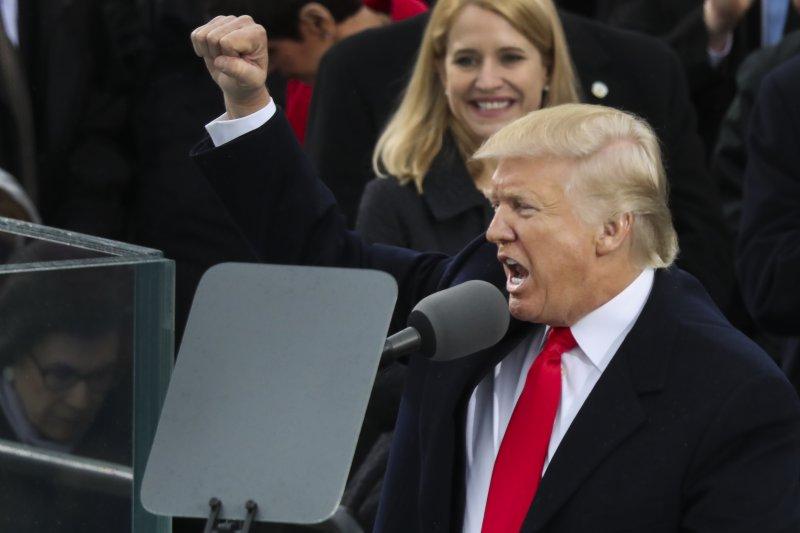 美國第45位總統川普發表就職演說。(美聯社)