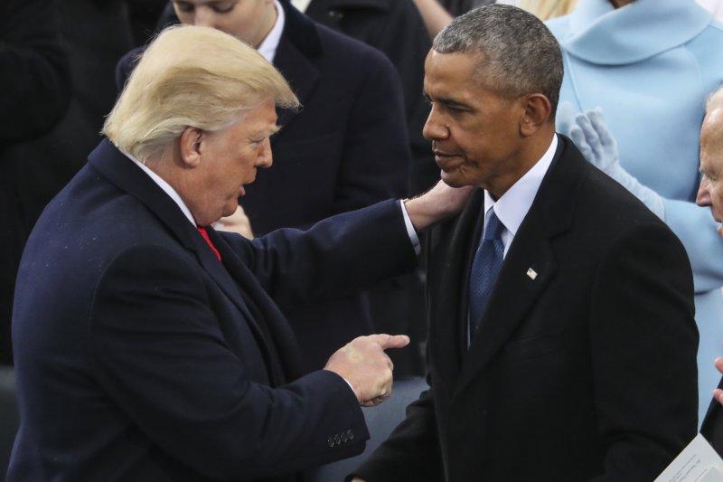 川普與歐巴馬。(美聯社)
