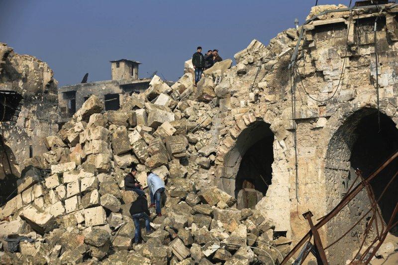 連年戰火使得900年歷史的敘利亞清真寺被破壞殆盡。(美聯社)