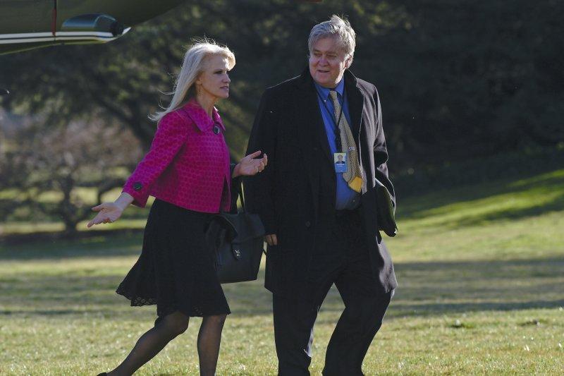 美國總統川普兩大心腹:總統顧問康威與白宮策略長巴農(AP)