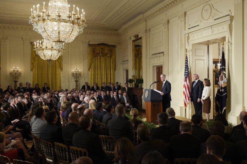 美國最高法院大法官提名人葛薩奇發表談話(AP)