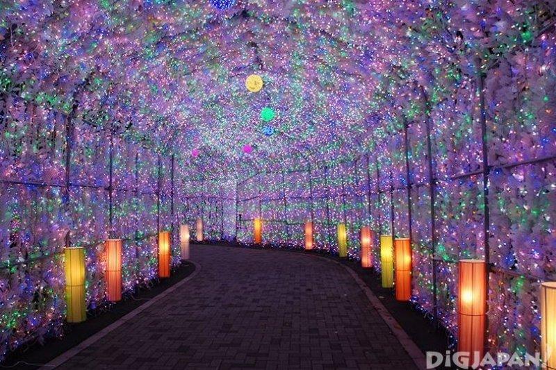 用約40萬顆電燈裝飾而成的隧道光彩奪目。(圖/DiGJAPAN!)