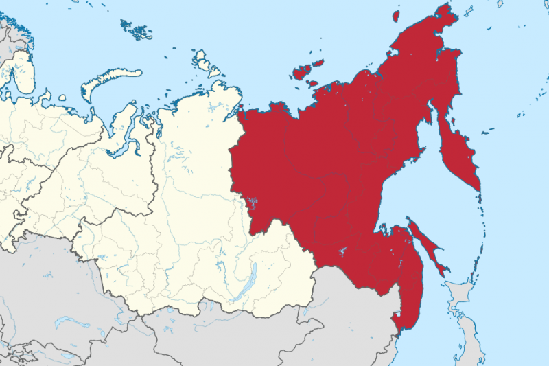 俄羅斯遠東聯邦管區(紅色部分)。(TUBS@Wikipedia/CC BY-SA 3.0)