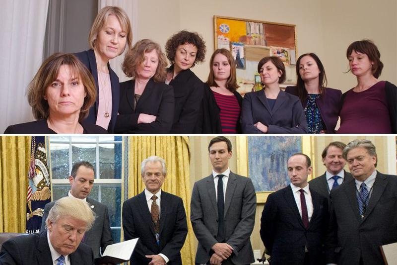 瑞典女副總理洛文3日在推特貼出一張簽署環境法案的照片,像川普簽署女性墮胎禁令時,身後站著7名大男人的場景「致敬」。(翻攝推特)