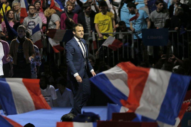 2017年法國總統大選,無黨籍參選人馬克宏(Emmanuel Macron)聲勢看漲(AP)