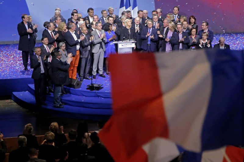 法國極右派總統候選人勒潘5日在中部大城里昂舉行2天的競選造勢活動(AP)