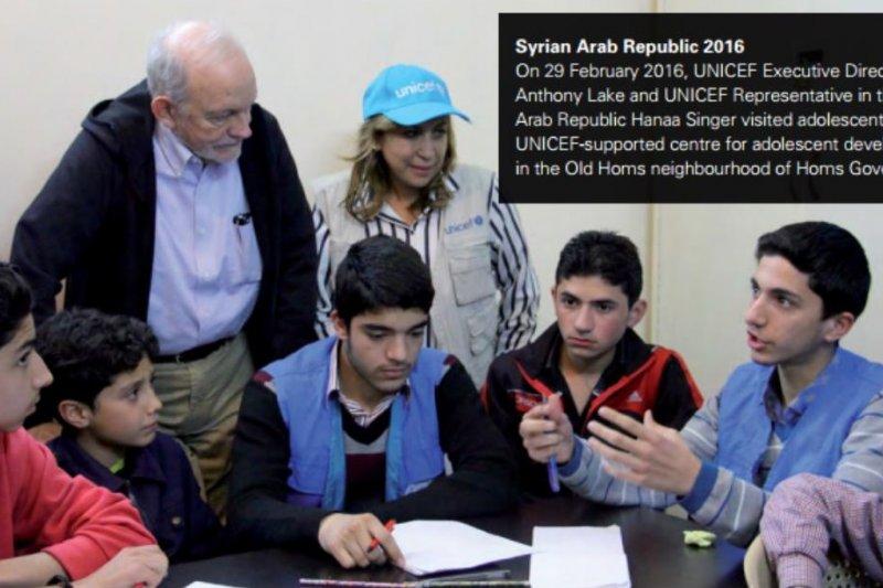 受UNICEF資助兒接受教育的敘利亞青少年。(翻攝UNICEF年度報告)