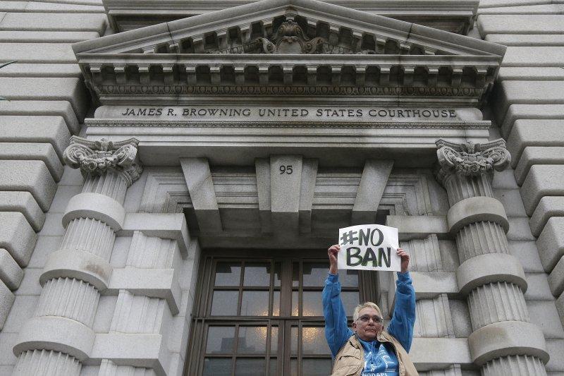 美國聯邦第9巡迴上訴法院針對川普穆斯林禁令開庭聆訊(AP)