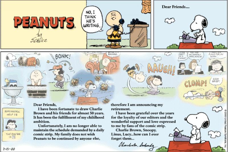 2000年2月13日,《花生漫畫》最後一次周日版,這部經典漫畫結束半世紀的連載(Wikipedia/Fair Use)