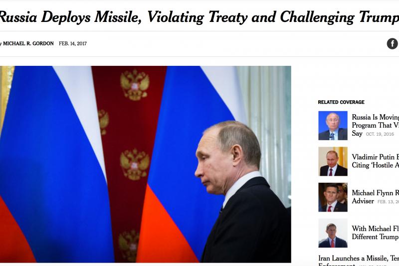 《紐約時報》14日率先揭露俄國秘密部署SSC-8陸基巡弋飛彈,違反冷戰時期美蘇簽訂的《中程飛彈條約》。(翻攝網路)