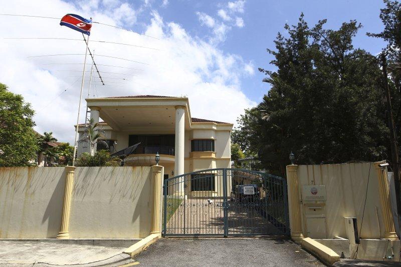 北韓駐馬來西亞大使館大門緊閉。(美聯社)