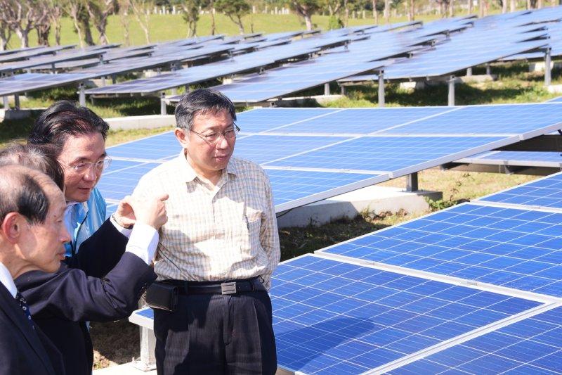 臺北市者柯文哲出席台北能源之丘啟動記者會,表示未來將持續推動綠色能源,並朝向公私合作的方式。(台北市政府)