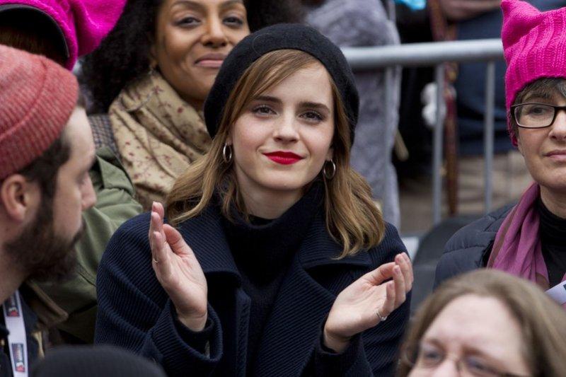英國知名女星艾瑪華森也參與美國華府的「女人進軍」遊行(AP)