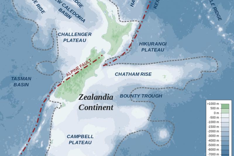 紐西蘭大陸(Zealandia)(Alexrk@Wikipedia / CC BY-SA 3.0)