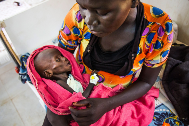 聯合國宣告南蘇丹進入飢荒狀態,超過一百萬個孩子陷入營養不良。(聯合國推特)