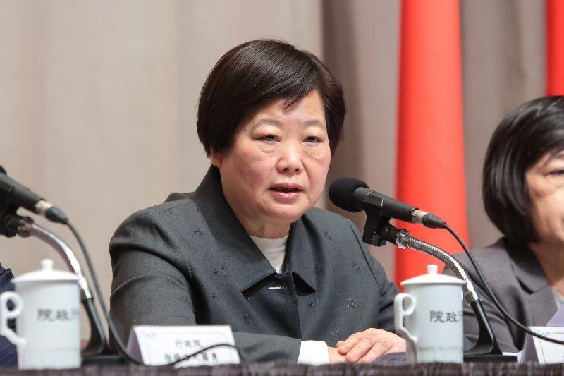 20170223-勞動部長林美珠23日於行政院會後出席記者會。(顏麟宇攝)