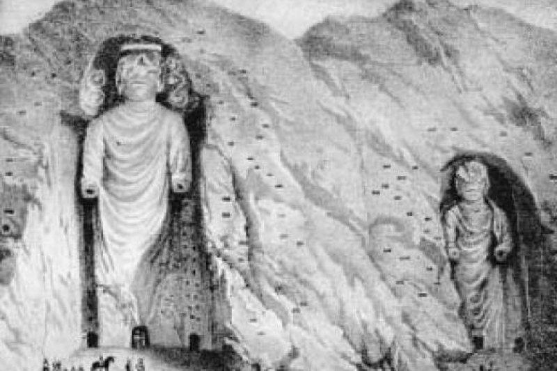 1832年,蘇格蘭探險家伯恩思(Alexander Burnes)所繪的巴米揚大佛(Wikipedia/Public Domain)