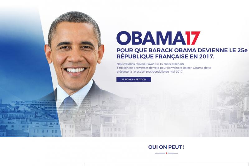 法國民眾發起請願活動,希望歐巴馬參選法國總統(翻攝Obama17)