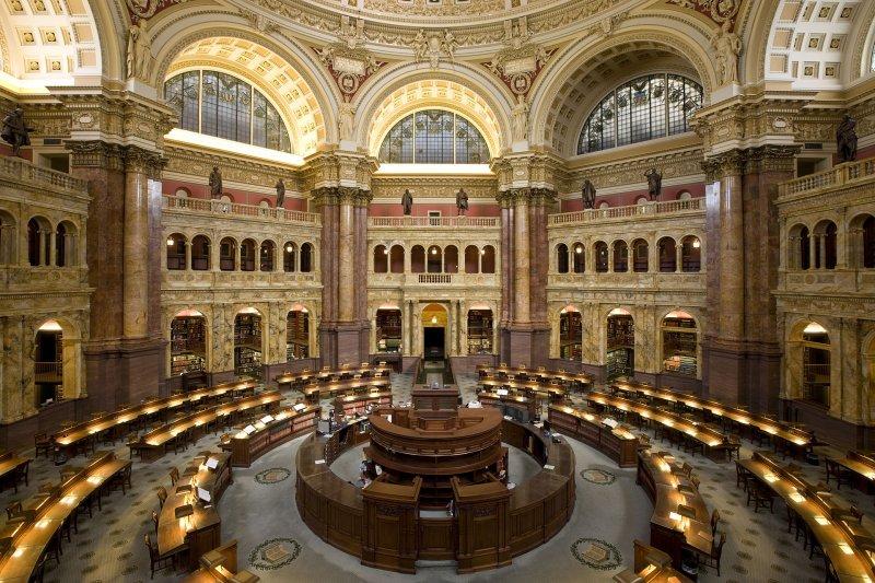 美國國會圖書館閱覽室。(維基百科/公有領域)