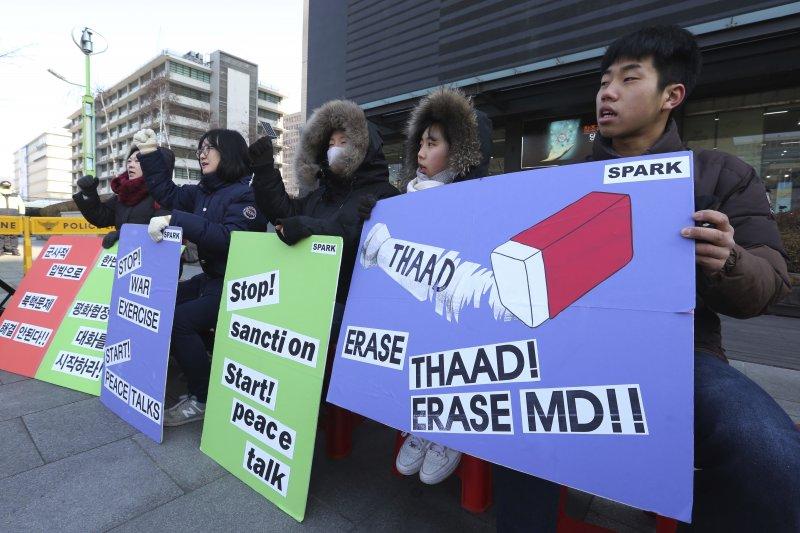 南韓民眾抗議美軍薩德反飛彈系統進駐。(美聯社)