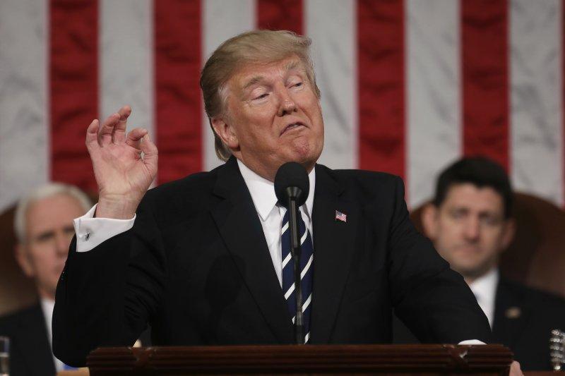 川普2月28日首度在國會兩院聯席會議上發表演說(AP)
