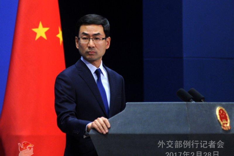 中國外交部發言人耿爽針對日前中國代表團來台參加活動,未能禮遇通關入境,指責我外交部,「希望中國台北方面認真反思,採取實際行動糾正錯誤」。。(資料照,中國外交部)