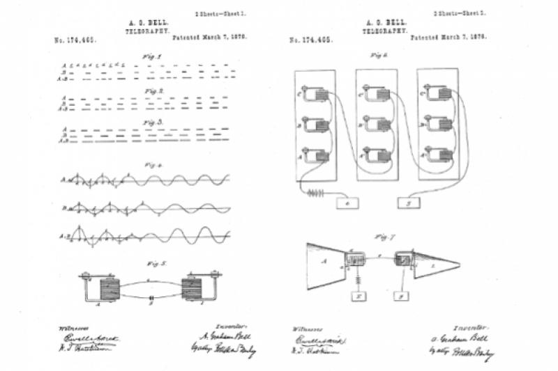 貝爾的電話專利書中所附的說明圖。(圖/美國專利局)