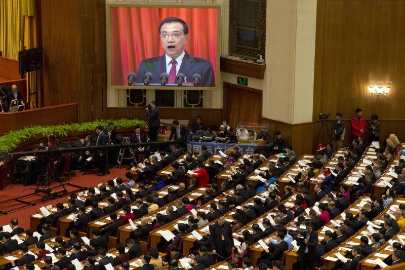 中國國務院總理李克強5日在十二屆全國人大五次會議發表政府工作報告(AP)