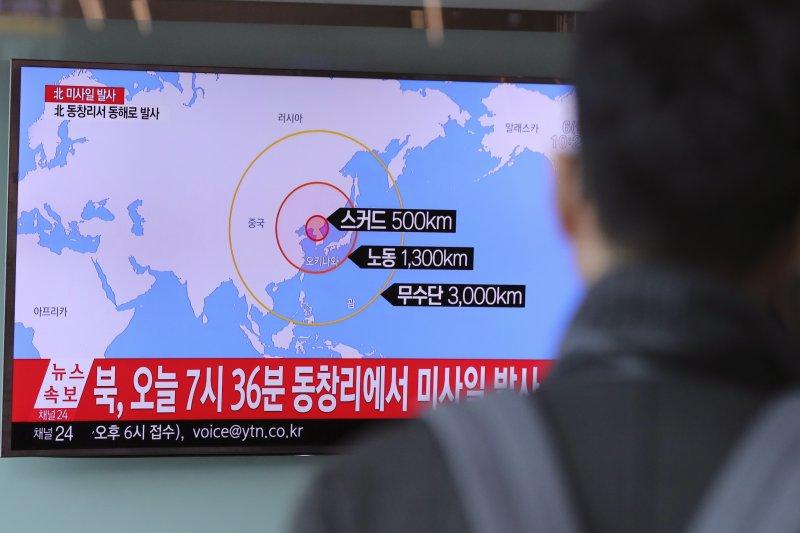 北韓6日上午再度發射4枚彈道飛彈。(美聯社)
