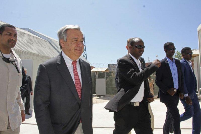 聯合國秘書長古特雷斯(António Guterres)親自走訪索馬利亞。(AP)
