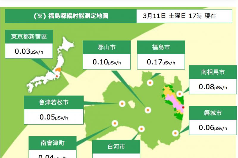 福島輻射測定地圖。