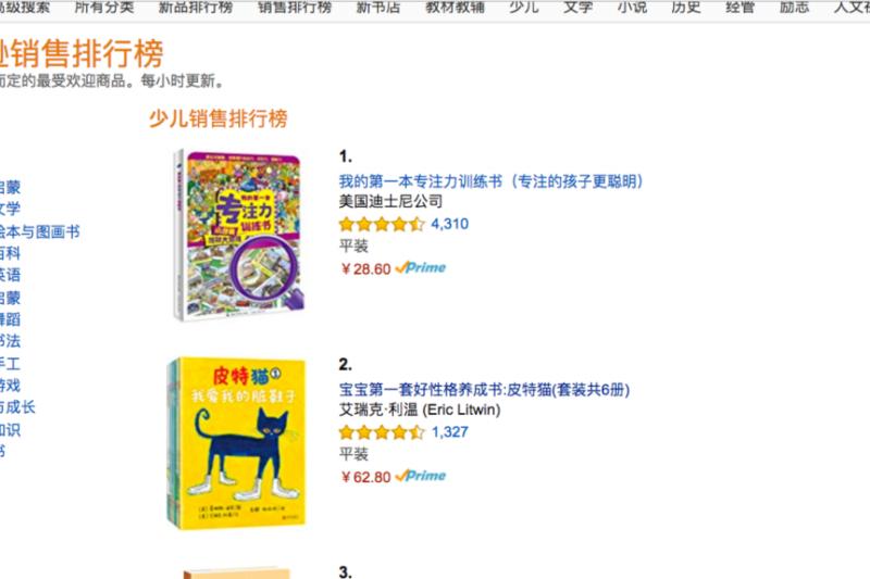 亞馬遜中文網上少兒圖書排行榜中前十名中有七本都出自外國作者之手。(美國之音)