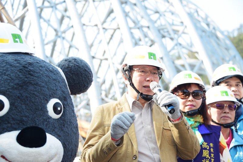 柯文哲12日參加植樹節活動,被問及傅崑萁可能參選台北市,柯回答,「等發生再來煩惱」。(北市府提供)