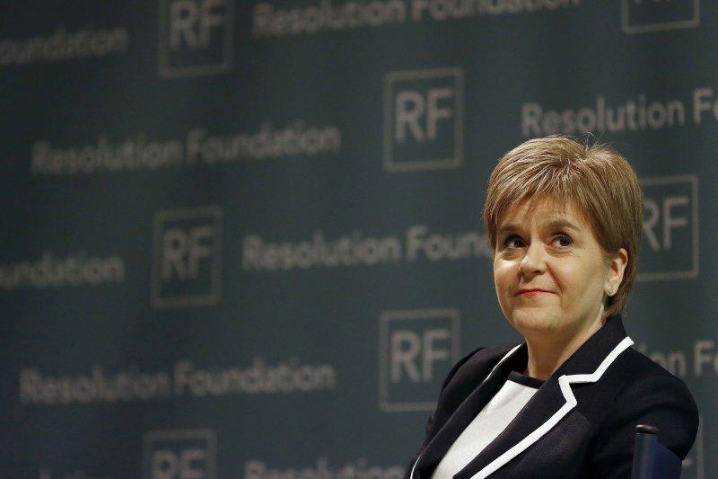 蘇格蘭自治政府領導人、首席部長史特金(Nicola Sturgeon)13日宣布將再次舉行獨立公投(AP)
