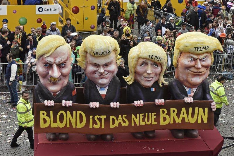 德國狂歡節中,民眾諷刺希特勒、威爾德斯、勒潘和川普是同一幫人。(美聯社)