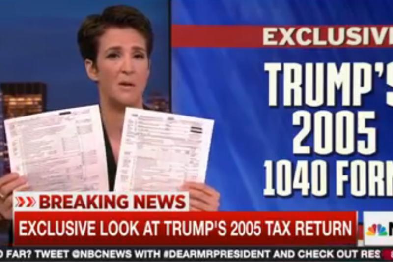 美國電視台MSNBC於14日公布一份總統川普於2005年的退稅清單。