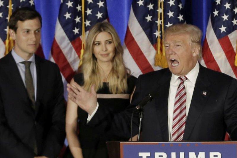 時為總統候選的川普和女兒伊凡卡和女婿庫許納一道參加紐約州的一次競選活動。(美國之音)