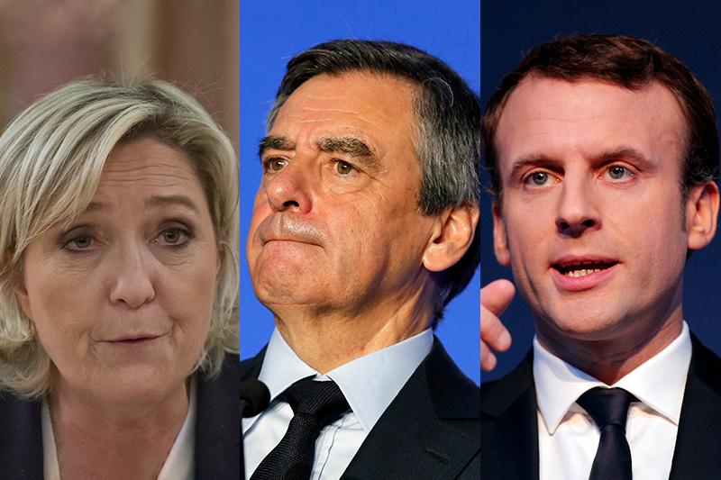 2017年法國總統大選的主要候選人勒潘、費雍、馬克宏(由左至右)皆捲入舞弊醜聞(照片:AP/製圖:風傳媒)