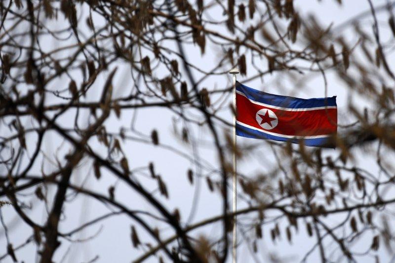 北韓國旗。(美聯社)