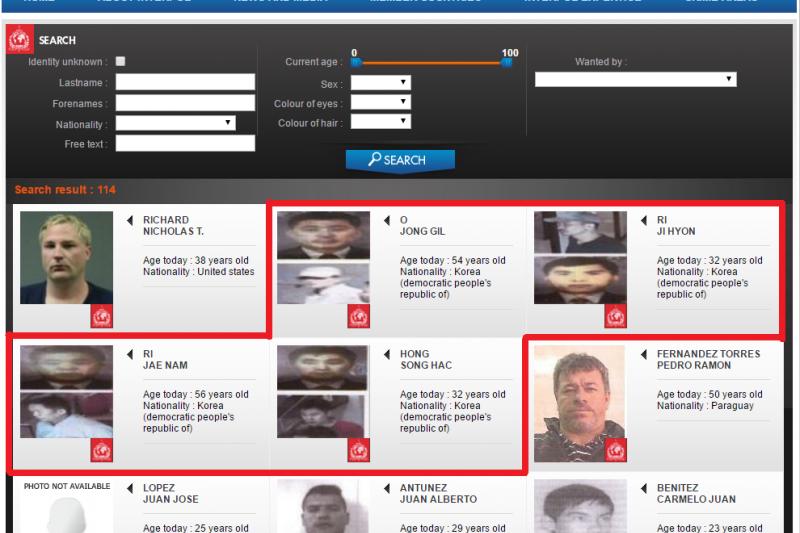 國際刑警組織(Interpol)對涉及金正男刺殺案的4名北韓嫌犯發布紅色通緝令(翻攝Interpol)