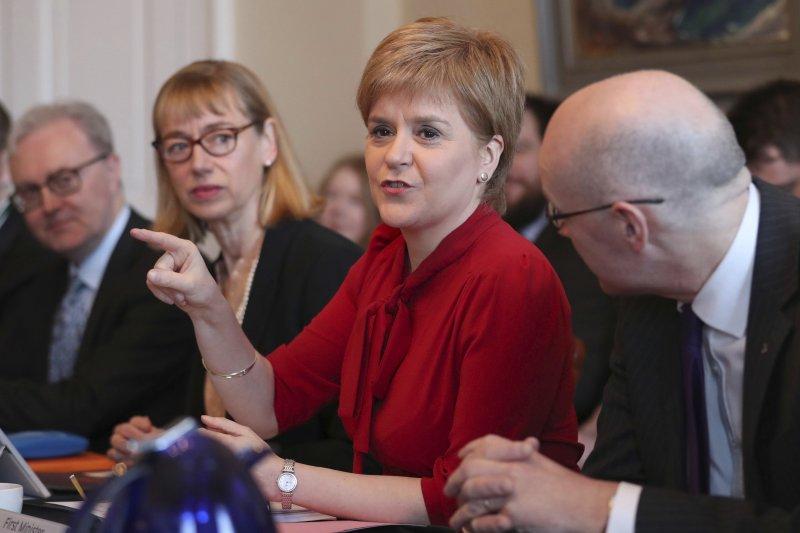 蘇格蘭首席部長史特金(Nicola Sturgeon)3月13日宣布再度推動蘇格蘭獨立公投(AP)